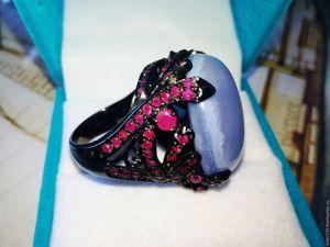 Скидка на роскошный перстень  «Небо в рубинах». Ярмарка Мастеров - ручная работа, handmade.