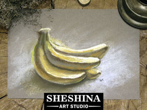 Видеоурок: рисуем связку аппетитных бананов сухой пастелью. Ярмарка Мастеров - ручная работа, handmade.