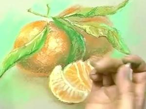 Видеоурок: рисуем мандарины сухой пастелью. Ярмарка Мастеров - ручная работа, handmade.