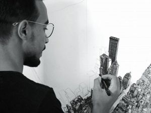 Он за два года научился рисовать и сделал шедевр! Детализированная картина города Нью-Йорка, нарисованная Хоссамом Мохамедом. Ярмарка Мастеров - ручная работа, handmade.
