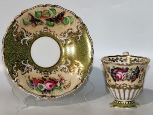 "Шикарная, старинная чайная пара "" butterflies"", от мануфактуры ""Copeland & Garrett"", Англия, 1833-1847 гг. Ярмарка Мастеров - ручная работа, handmade."