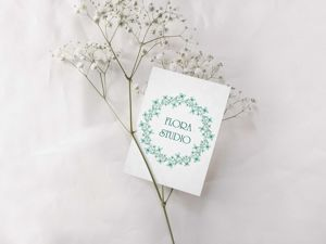 Готовый логотип, нежные бирюзовые цветы. Ярмарка Мастеров - ручная работа, handmade.