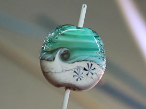Surf Up Lampwork Bead for a Sea Style Pendant. Livemaster - handmade