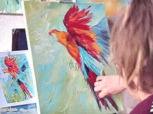 Мастер-класс по живописи: пишем маслом летящего попугая. Ярмарка Мастеров - ручная работа, handmade.
