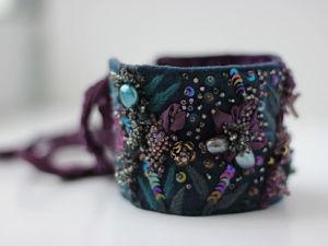 Браслет Ночные орхидеи на заказ для Людмилы. Ярмарка Мастеров - ручная работа, handmade.