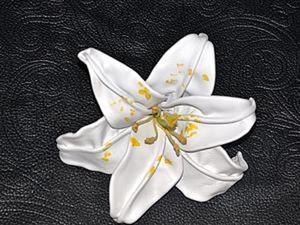"""Делаем цветок лилии """"Белая королева"""" из кожи. 2 часть. Ярмарка Мастеров - ручная работа, handmade."""
