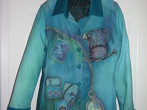 """Роспись и сборка пиджака из дикого шёлка """"Алиса в стране чудес"""". Ярмарка Мастеров - ручная работа, handmade."""
