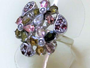 Видеоролик серебряного кольца с натуральными турмалинами  «Симфония цветов». Ярмарка Мастеров - ручная работа, handmade.