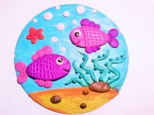 Делаем с детьми панно «Рыбки с пайетками». Ярмарка Мастеров - ручная работа, handmade.