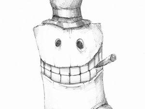 День 231. Набросок ручкой  «Продавец». Ярмарка Мастеров - ручная работа, handmade.