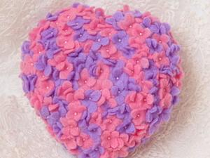 Валяное цветочное сердце: мастер-класс. Ярмарка Мастеров - ручная работа, handmade.
