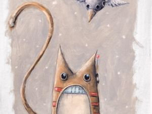 День 157. Этюд маслом  «Кот и птица». Ярмарка Мастеров - ручная работа, handmade.