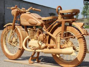 Юрий Хвтисишвили создал точную деревянную копию легендарного советского мотоцикла ИЖ-49. Ярмарка Мастеров - ручная работа, handmade.