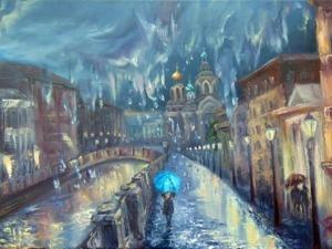 Видео мастер-класс: пишем маслом дождливый Питер и девушку под зонтом. Ярмарка Мастеров - ручная работа, handmade.