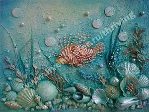 """Создание коллажа в технике терра """"На морской глубине"""". Ярмарка Мастеров - ручная работа, handmade."""