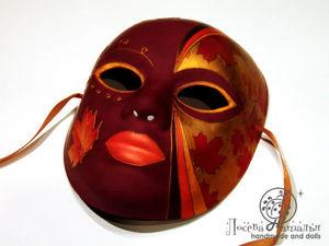Декорирование интерьерной маски «Леди Осень» с элементами декупажа и вживления распечатки на поталь. Ярмарка Мастеров - ручная работа, handmade.