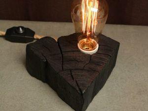 Светильник из спила  «Уголёк». Ярмарка Мастеров - ручная работа, handmade.