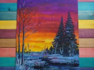 Creating The Winter Evening Picture with Oil Paints: A Step by Step Video Guide. Livemaster - handmade