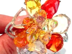 Видео кольца «Fairy Queen» огненные опалы,бриллианты,золото 750. Ярмарка Мастеров - ручная работа, handmade.