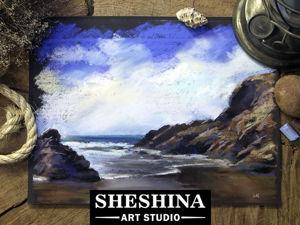Видеоурок: рисуем скалистый морской берег сухой пастелью. Ярмарка Мастеров - ручная работа, handmade.
