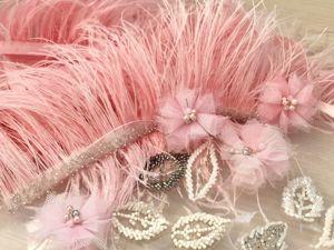Розовое платье с декором из цветов. Ярмарка Мастеров - ручная работа, handmade.