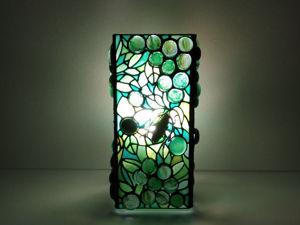 Витражный ночник / декоративный светильник /лампа  «Свежая зелень». Ярмарка Мастеров - ручная работа, handmade.