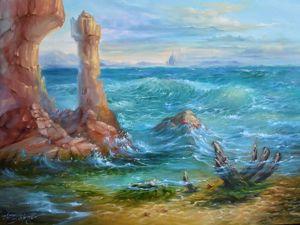 Как нарисовать прозрачную воду в морском пейзаже: видеоурок. Ярмарка Мастеров - ручная работа, handmade.