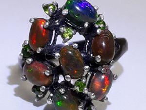 Эксклюзив ! Серебряное кольцо с чёрными    опалами  « Факир». Ярмарка Мастеров - ручная работа, handmade.
