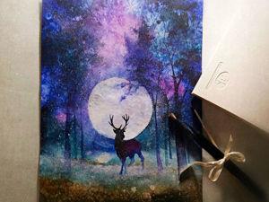 Рисуем акварелью волшебный лес с оленем. Ярмарка Мастеров - ручная работа, handmade.