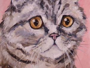 День 123. Этюд  «Розовый кот». Ярмарка Мастеров - ручная работа, handmade.