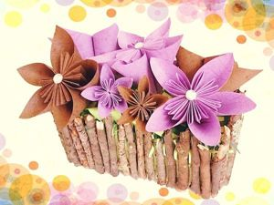 Делаем красивую корзинку с цветочками оригами: видео мастер-класс. Ярмарка Мастеров - ручная работа, handmade.