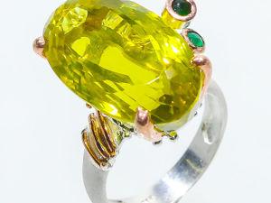 Серебряно кольцо с лимонным кварцем, 17,5 размер. Ярмарка Мастеров - ручная работа, handmade.