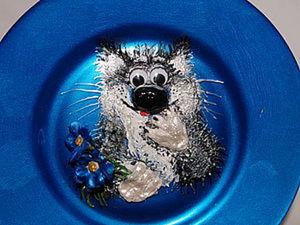 """Стеклянная тарелка """"Приблудный мартовский хочуха"""". Ярмарка Мастеров - ручная работа, handmade."""