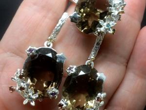 Серьги и кольцо с раухтопазом серебряные. Ярмарка Мастеров - ручная работа, handmade.