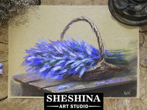 Рисуем сухой пастелью натюрморт с лавандой в корзине. Ярмарка Мастеров - ручная работа, handmade.