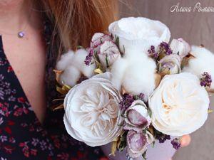 Видеоурок: создаем цветочную композицию с хлопком, душицей и розами из бумаги. Ярмарка Мастеров - ручная работа, handmade.