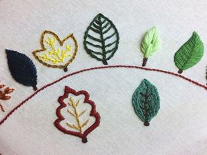 9 способов вышить листики. Ярмарка Мастеров - ручная работа, handmade.