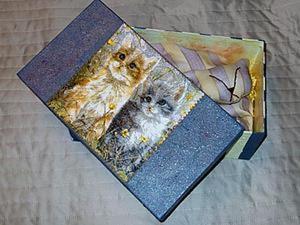 Оформление подарочной коробки для игрушки Кошка с котятами. Ярмарка Мастеров - ручная работа, handmade.