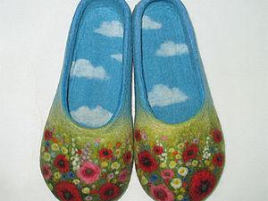 Валяем цветочные тапочки с облаками. Видео.. Ярмарка Мастеров - ручная работа, handmade.