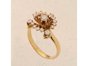 Видео авторского золотого кольца с бриллиантами (желтое золото 585 пробы). Ярмарка Мастеров - ручная работа, handmade.