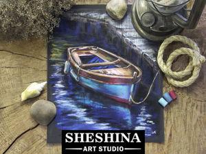 Рисуем лодку сухой пастелью. Ярмарка Мастеров - ручная работа, handmade.