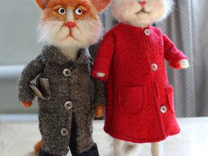 Валяные игрушки  « Кот и Котя». Ярмарка Мастеров - ручная работа, handmade.