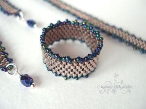 Кольцо и браслет из Miyuki Delica: как приплести дополнительный ряд вдоль мозаичного полотна. Ярмарка Мастеров - ручная работа, handmade.
