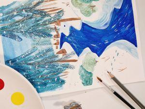 Рисование для детей: урок «Зимний пейзаж». Ярмарка Мастеров - ручная работа, handmade.