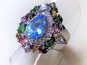 Видеоролик серебряного кольца с натуральным крупным голубым топазом 10х7 мм. Ярмарка Мастеров - ручная работа, handmade.