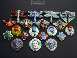 Кабошоны из керамики для ваших украшений. Пчелки, мушки, львы, стрекозы. Ярмарка Мастеров - ручная работа, handmade.