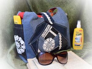 Шьем пляжную сумку из джинсов с элементами лоскутной техники. Ярмарка Мастеров - ручная работа, handmade.