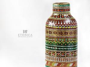 Точечная роспись бутылки в африканском стиле. Ярмарка Мастеров - ручная работа, handmade.