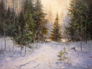 Пишем лесной зимний пейзаж с ёлкой. Часть 1. Ярмарка Мастеров - ручная работа, handmade.