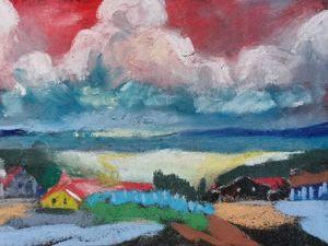 Рисуем сухой пастелью на наждачной бумаге «Деревенский пейзаж». Ярмарка Мастеров - ручная работа, handmade.
